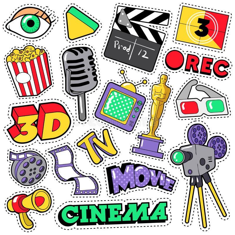 Заплаты телевидения фильма кино, значки, стикеры иллюстрация штока
