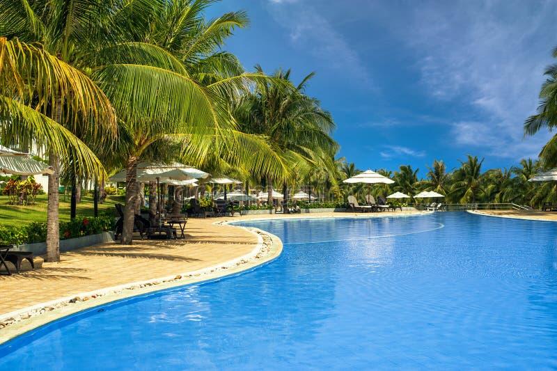 заплывание бассеина Мальдивов гостиницы тропическое ne Вьетнам mui стоковая фотография rf
