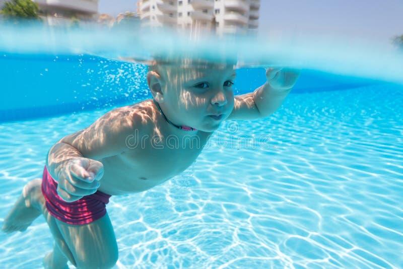 Заплывание мальчика под водой стоковое фото rf