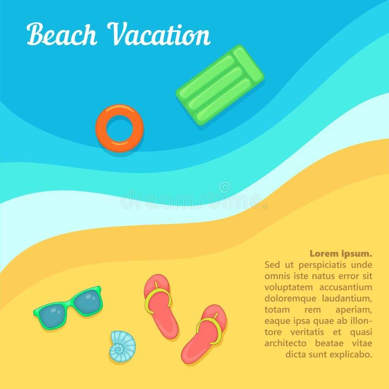 Заплывание пляжа концепции остатков моря, стиль шаржа иллюстрация вектора