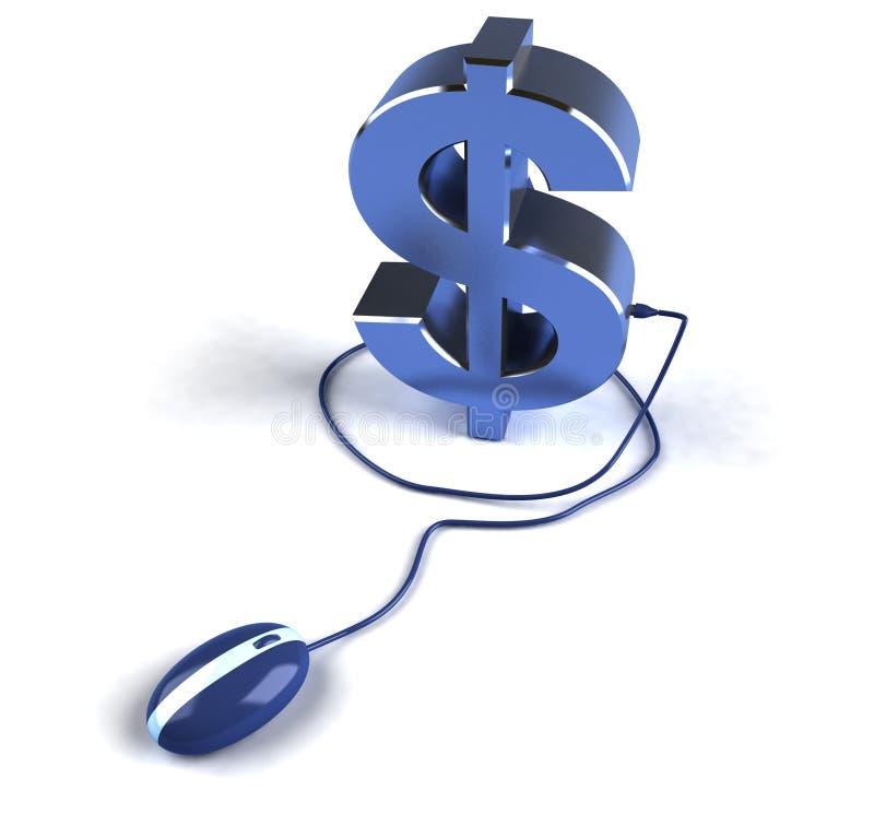 заработайте деньги он-лайн иллюстрация вектора