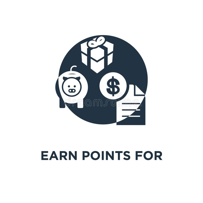 заработайте пункты для значка приобретения дизайн, наличные деньги назад, маркетинг и продвижение символа концепции программы пре бесплатная иллюстрация