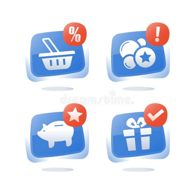 Заработайте пункты и получите вознаграждение, программу преданности, талон скидки, сбережения копилки, выкупите подарок, заднюю ч бесплатная иллюстрация