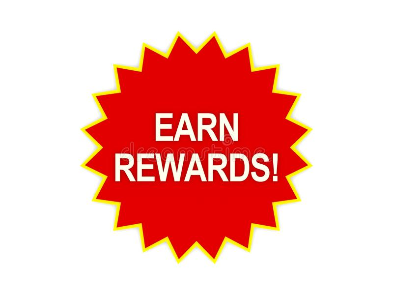 Заработайте сообщение вознаграждениями на красной звезде иллюстрация штока