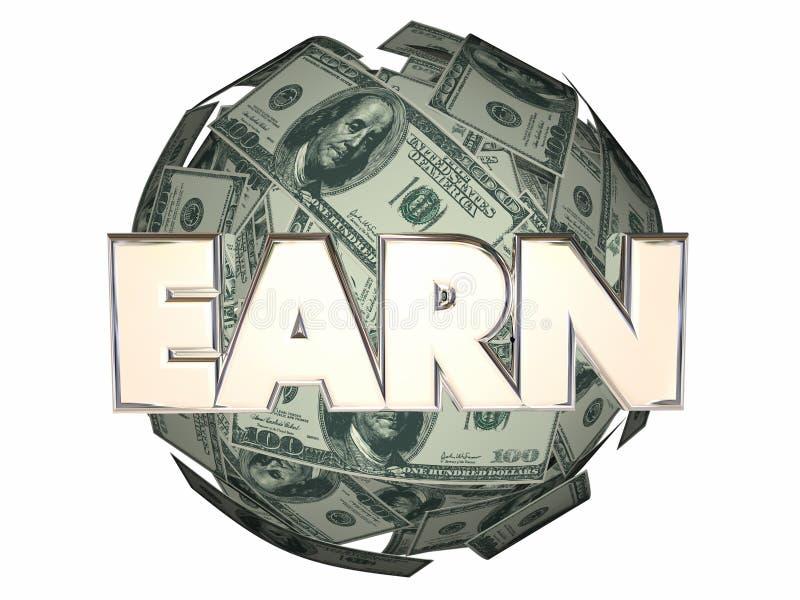 Заработайте сферу шарика наличных денег работы дохода денег иллюстрация штока