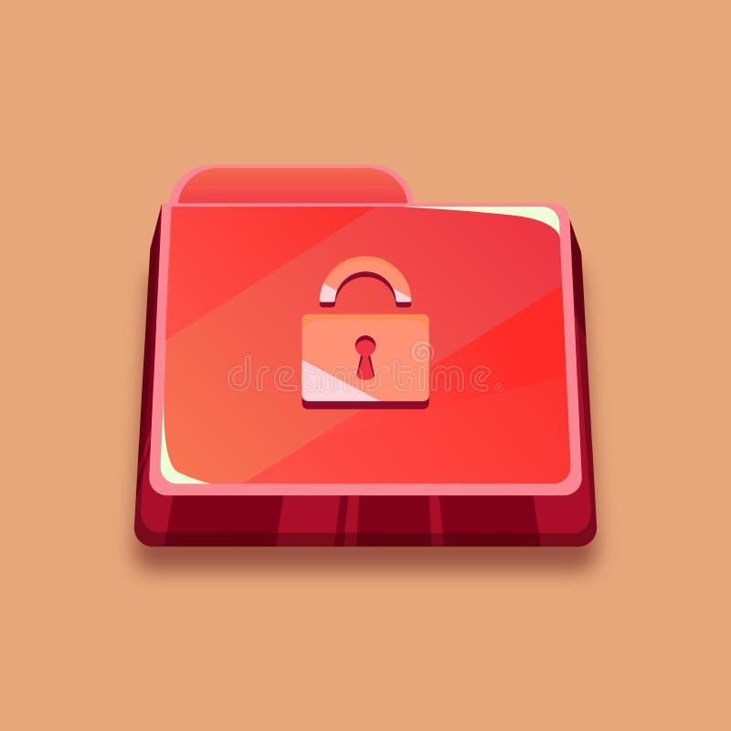 Зараженная папка, красная папка с замком иллюстрация вектора