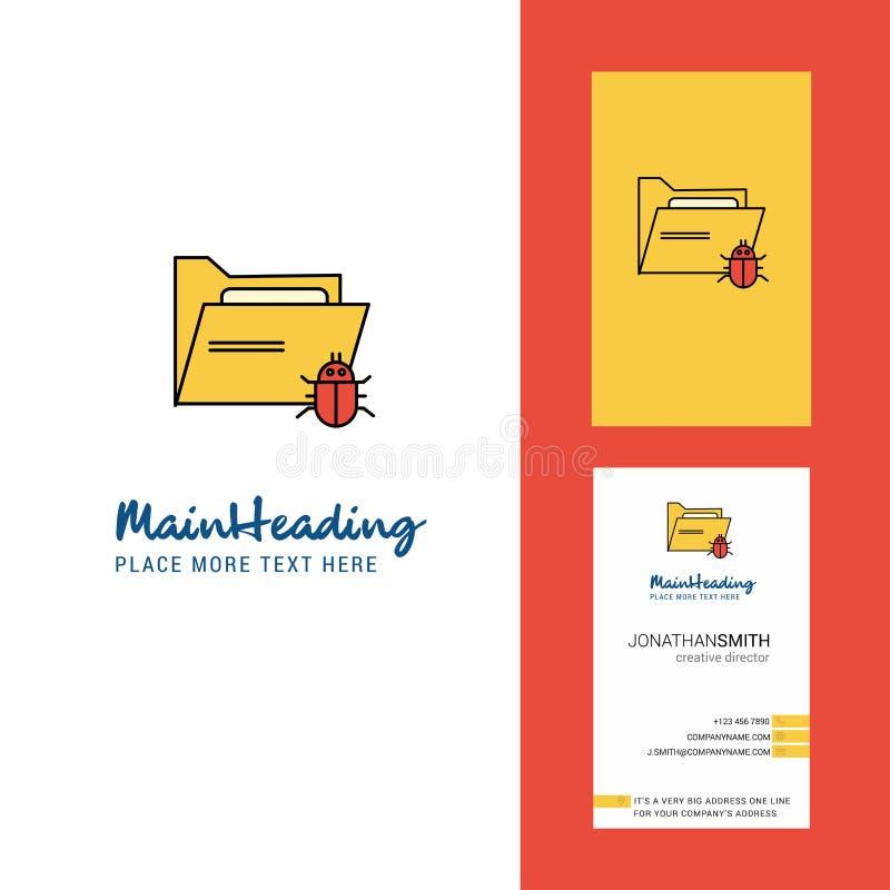 Зараженные логотип папки творческие и визитная карточка вертикальный вектор дизайна иллюстрация штока