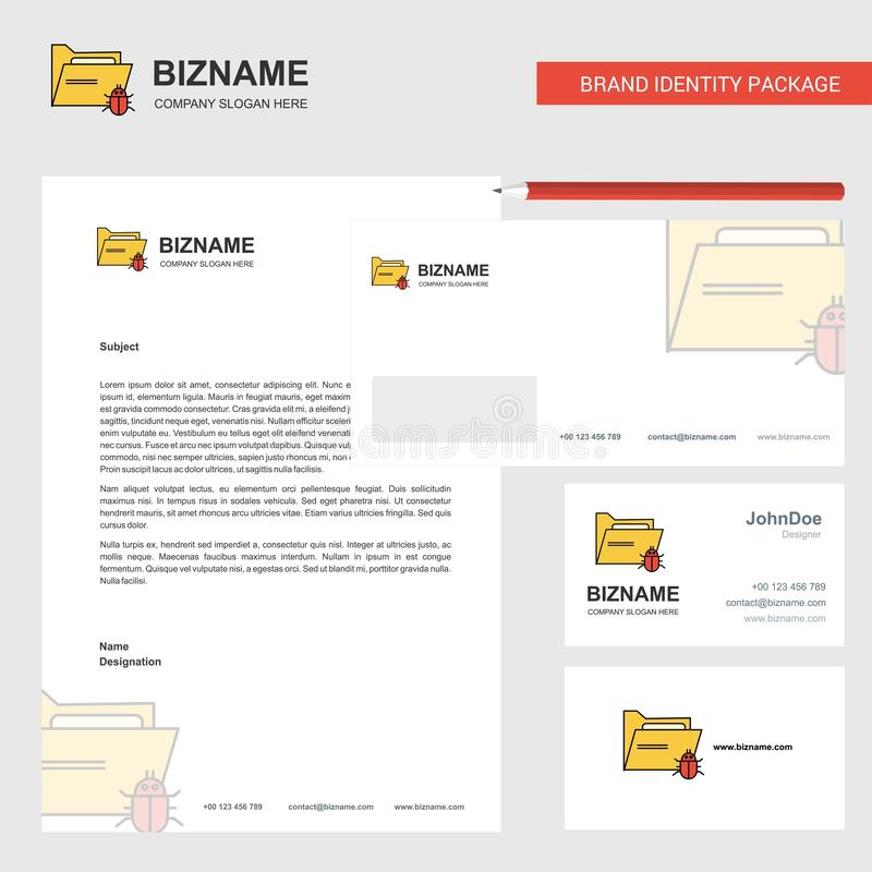 Зараженные Letterhead дела папки, конверт и шаблон вектора дизайна карты посещения бесплатная иллюстрация