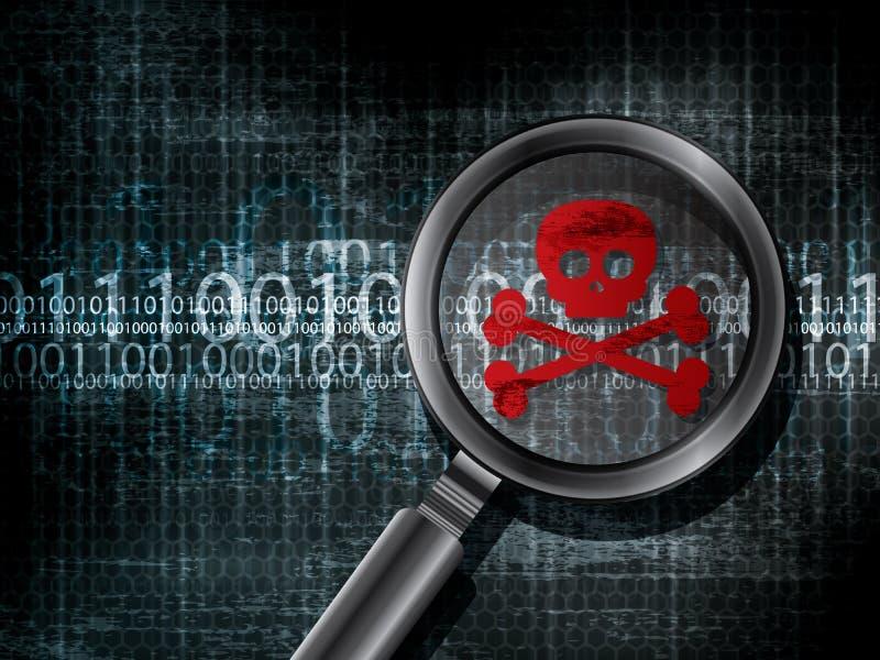 Зараженный компьютер вируса абстрактные предпосылки иллюстрация вектора