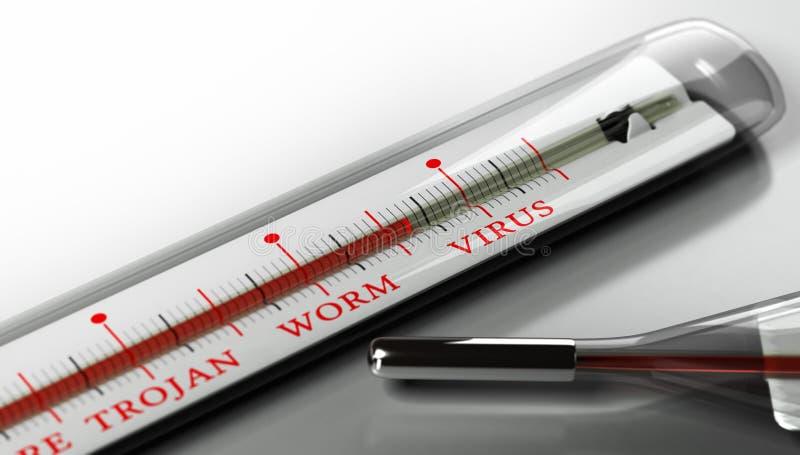 Зараженный компьютер, сигнал тревоги вируса иллюстрация штока
