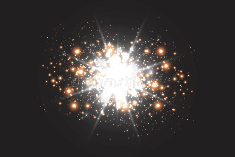 Зарево светового эффекта Звезда блеснула sequins абстрактный космос предпосылки иллюстрация вектора