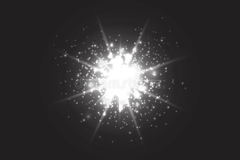 Зарево светового эффекта Звезда блеснула sequins абстрактный космос предпосылки иллюстрация штока