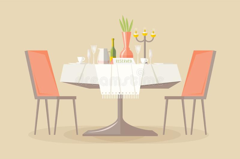 Зарезервированная таблица ресторана или кафа со скатертью, свечами в подсвечнике, заводе, рюмках, знаке столешницы резервирования иллюстрация вектора