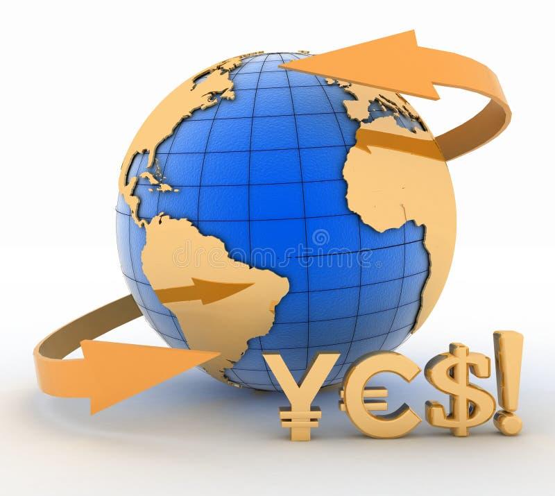 Заройте глобус и символы иен, евро, доллара иллюстрация штока