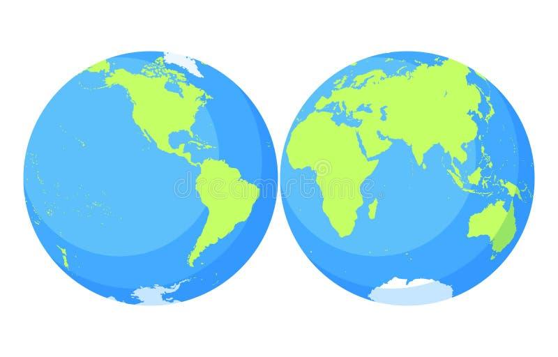 заройте глобус Комплект карты мира Планета с континентами бесплатная иллюстрация