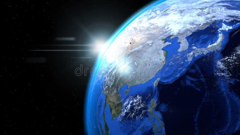 Заройте глобус от космоса при солнце и облака, конец вверх, показывая как стоковые изображения