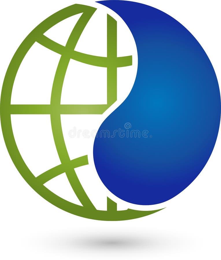 Заройте падение глобуса и воды, глобус и промышленный логотип иллюстрация штока