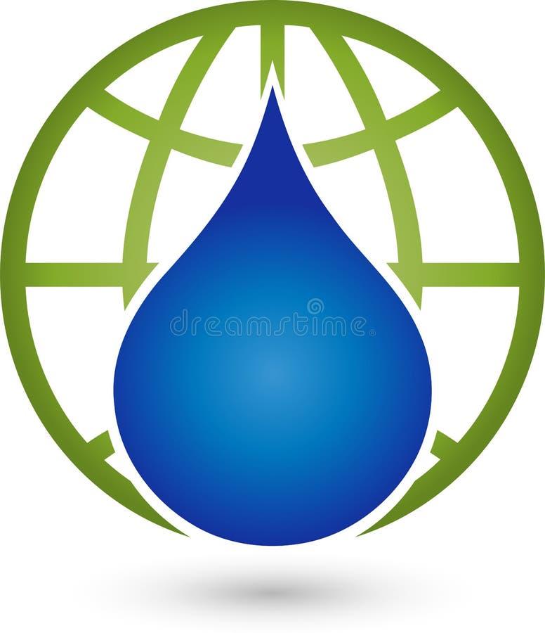 Заройте падение глобуса и воды, глобус и промышленный логотип иллюстрация вектора
