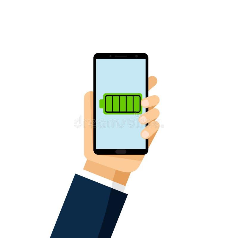 Зарядка аккумулятора Индикаторы обязанности батареи ровные изолированные на белой предпосылке Уведомление батареи на экране телеф иллюстрация штока