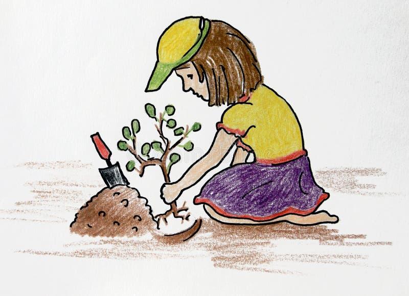 Засаженная девушка цветка стоковая фотография