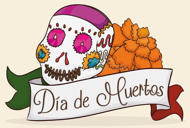 Засахарите череп при цветок ноготк празднуя Dia de Muertos, иллюстрацию вектора бесплатная иллюстрация