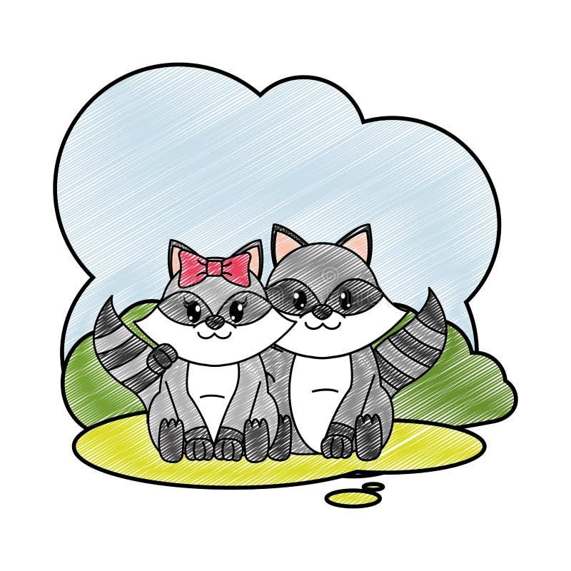 Заскрежетанное животное пар енота милое в ландшафте иллюстрация вектора