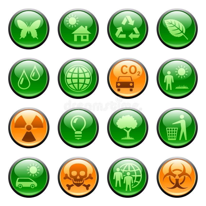застегивает иконы экологичности иллюстрация вектора