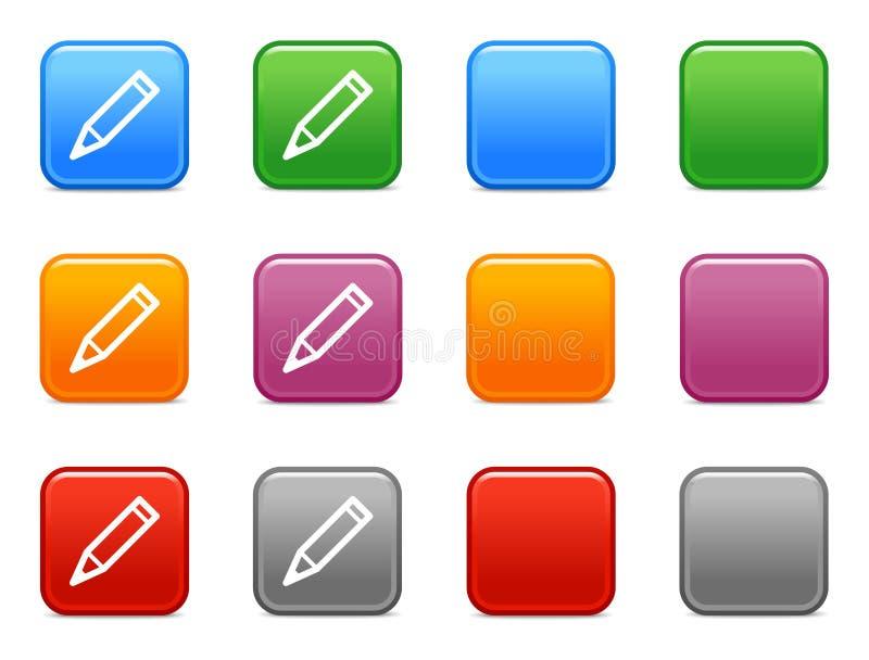 застегивает карандаш иконы иллюстрация вектора
