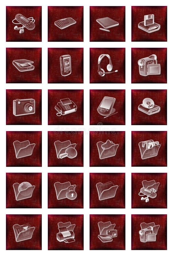 застегивает комплект красного цвета икон иллюстрация штока