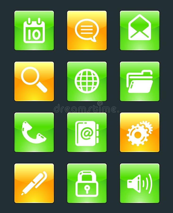 застегивает лоснистую сеть икон бесплатная иллюстрация