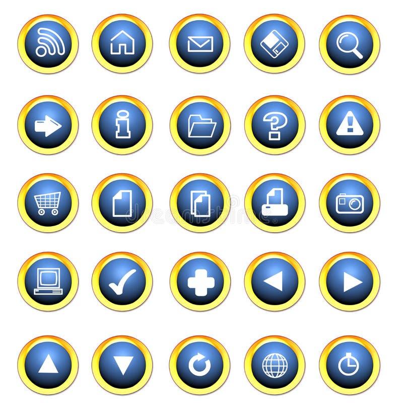 застегивает сеть иконы иллюстрация штока