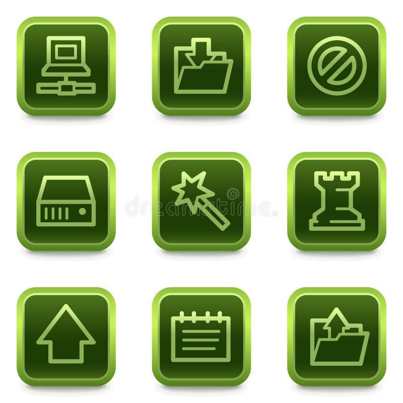 застегивает сеть квадрата серии икон данных зеленую иллюстрация штока