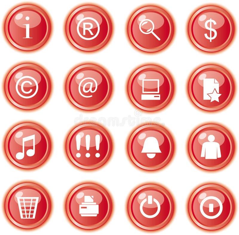 застегивает сеть красного цвета икон бесплатная иллюстрация