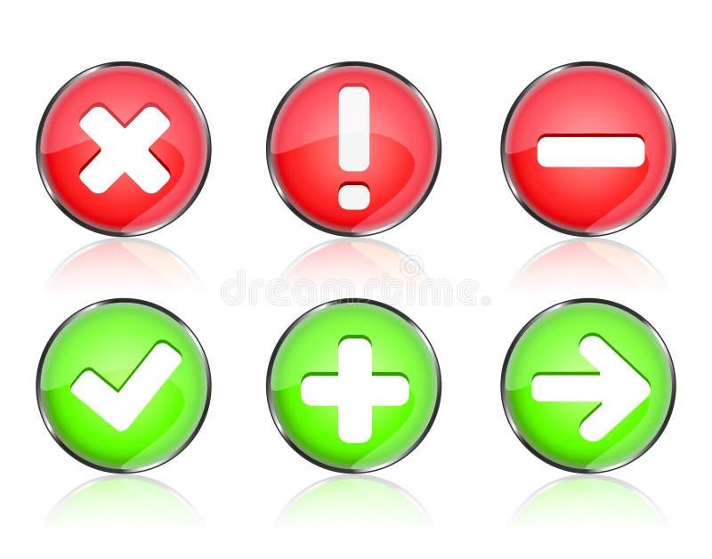 застегивает сеть утверждения иконы иллюстрация вектора
