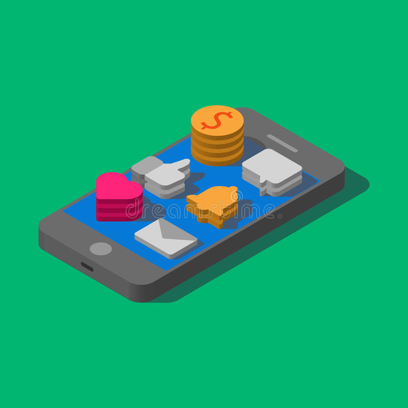 застегивает сотовый телефон Плоское равновеликое МОБИЛЬНОЕ УСТРОЙСТВО Серый smartphone иллюстрация вектора