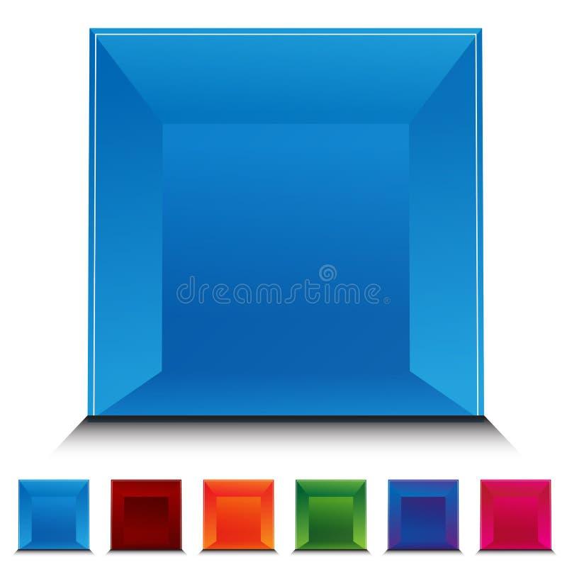 застегните квадрат gemstone установленный иллюстрация вектора