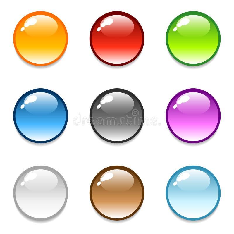 застегните лоснистые иконы круглой бесплатная иллюстрация