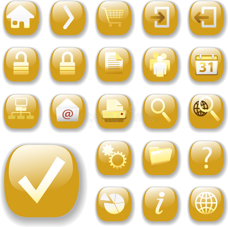 застегните сеть икон золота глянцеватую иллюстрация штока