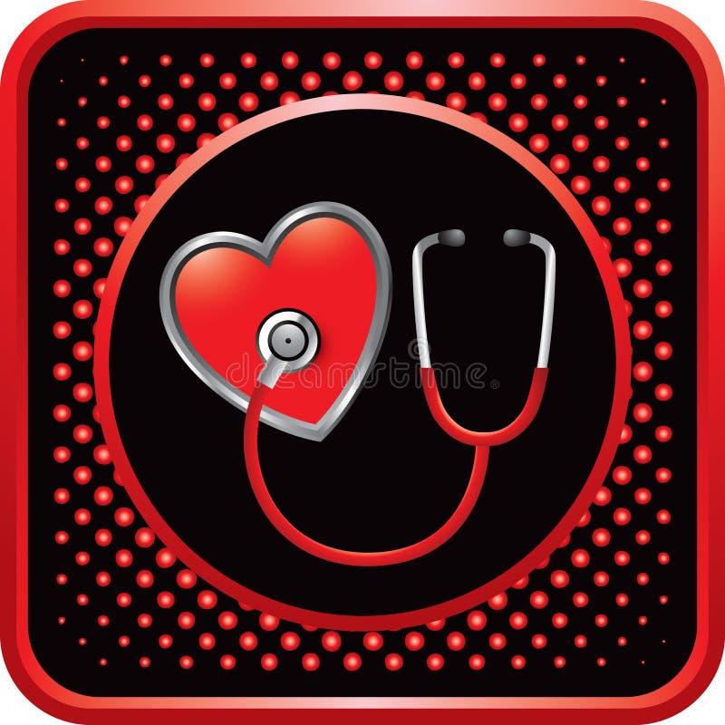 застегните сеть стетоскопа сердца halftone красную иллюстрация вектора