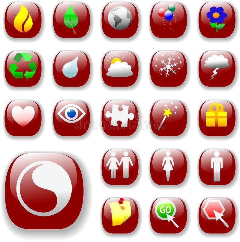застегните символы знаков красного цвета икон