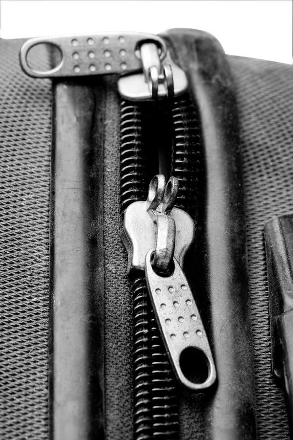 Застежка -молния чемодана двойная стоковая фотография rf