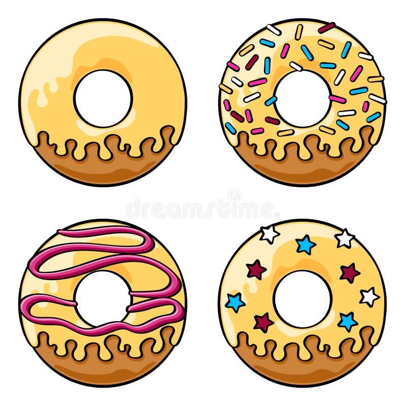 Застекленные установленные donuts иллюстрация штока