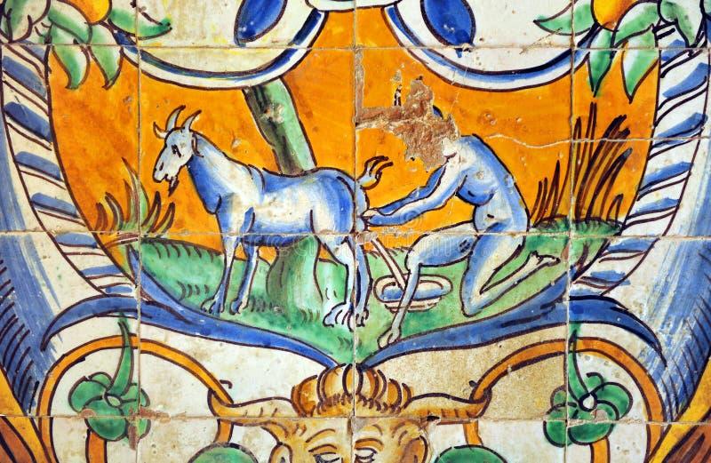 Застекленные плитки, дворец в Севилье, Испания Alcazar королевский стоковое фото rf
