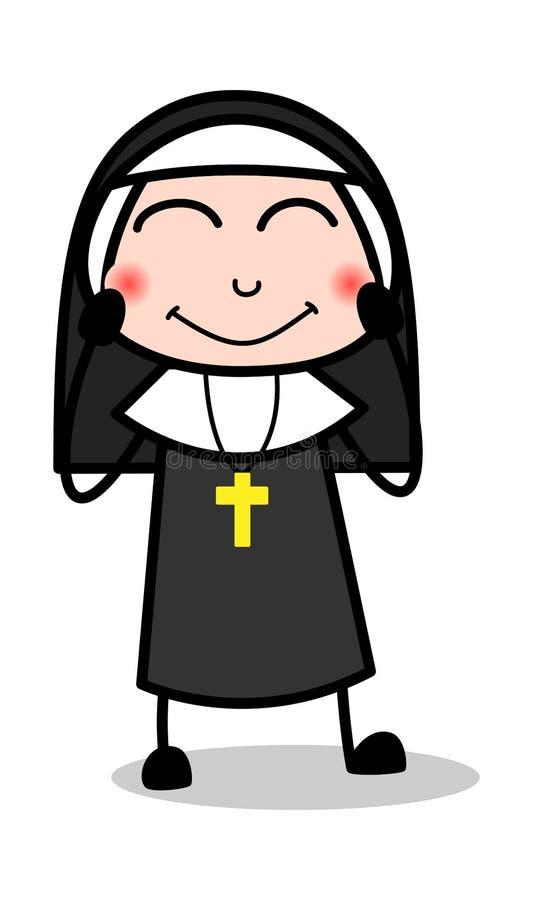 Застенчивый - дама Вектор Иллюстрация монашки мультфильма бесплатная иллюстрация