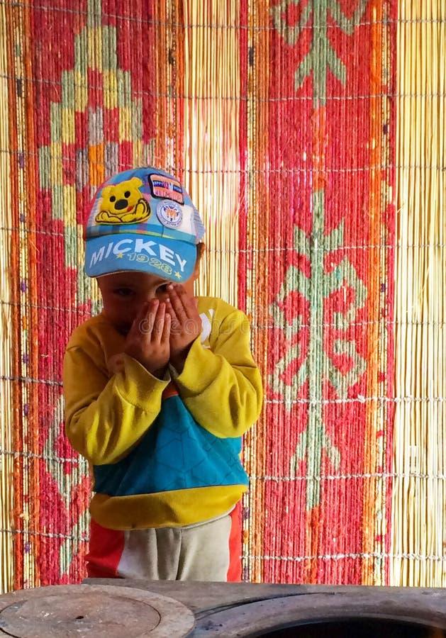 Застенчивый мальчик стоковое фото rf