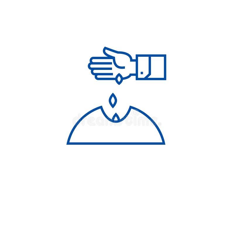 Засующ линию руки концепцию семян значка Засующ семена вручите плоский символ вектора, знак, иллюстрацию плана иллюстрация вектора