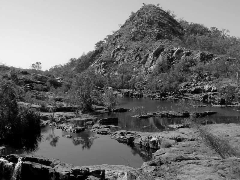 Засыхание вверх по руслу реки в B&W стоковое фото rf