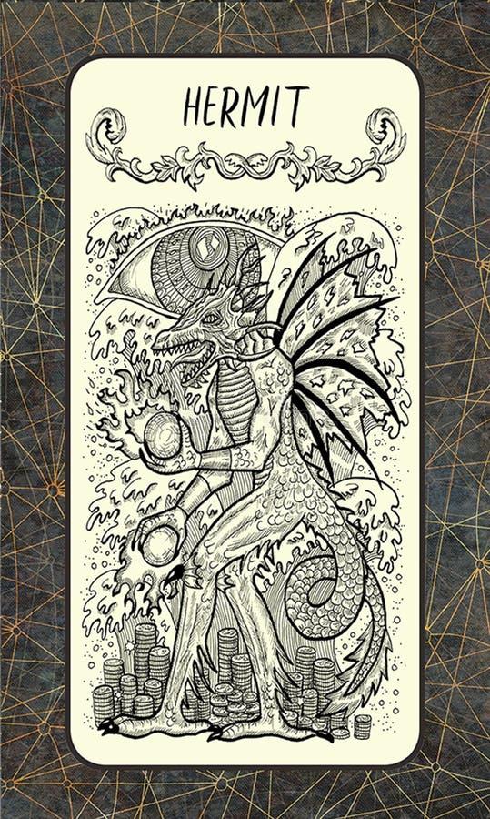 затворница Волшебная карточка tarot строба иллюстрация штока