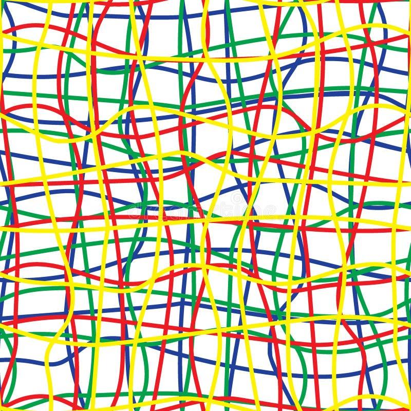 Затейливая покрашенная картина проводов безшовная иллюстрация вектора