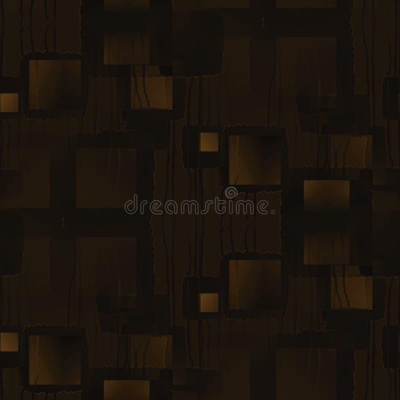 Затейливые квадраты при волнистые габаритно запачканные линии коричневеют и ocher иллюстрация штока